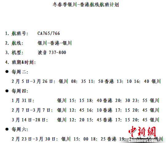 银川至香港直飞往返航班计划时刻表。银川机场供图